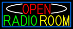 Open Radio Room With Blue Border LED Neon Sign