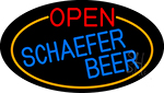 Open Schaefer Beer Oval With Orange Border LED Neon Sign