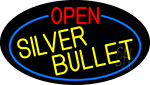 Open Silver Bullet Oval With Blue Border LED Neon Sign