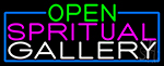 Open Spiritual Gallery With Blue Border LED Neon Sign