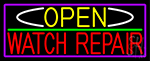 Open Watch Repair With Purple Border LED Neon Sign