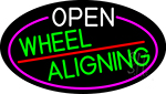 Open Wheel Aligning Oval With Pink Border LED Neon Sign