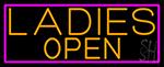 Orange Ladies Open With Pink Border Neon Sign