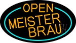 Orange Open Meister Brau Oval With Turquoise LED Neon Sign