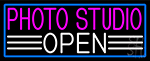 Photo Studio Open With Blue Border LED Neon Sign