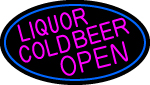 Pink Liquors Cold Beer Open Oval With Blue Border Neon Sign