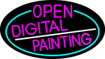 Pink Open Digital Painting Oval With Turquoise Border LED Neon Sign