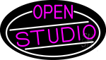 Pink Open Studio Oval With White Border LED Neon Sign