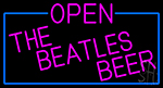 Pink Open The Beatles Beer With Blue Border LED Neon Sign