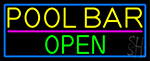 Pool Bar With Blue Border Neon Sign
