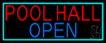 Pool Hall Open With Turquoise Neon Sign