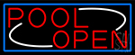 Pool Open With Blue Border Neon Sign