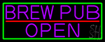 Purple Brew Pub Open With Green Border LED Neon Sign