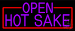 Purple Hot Sake Open With Red Border LED Neon Sign