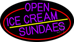 Purple Open Ice Cream Sundaes Oval With Red Border LED Neon Sign