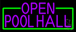 Purple Open Pool Hall With Green Border Neon Sign