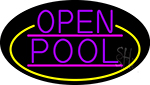 Purple Open Pool Oval With Yellow Border Neon Sign