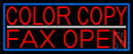 Red Color Copy Fax Open With Blue Border Neon Sign