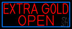 Red Extra Gold Open With Blue Border LED Neon Sign