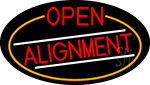 Red Open Alignment Oval With Orange Border LED Neon Sign