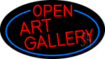 Red Open Art Gallery Oval With Blue Border LED Neon Sign
