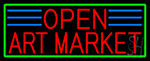 Red Open Art Market With Green Border LED Neon Sign