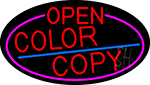 Red Open Color Copy Oval With Pink Border Neon Sign