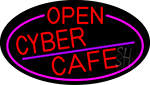 Red Open Cyber Cafe Oval With Pink Border Neon Sign