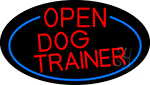 Red Open Dog Trainer Oval With Blue Border LED Neon Sign