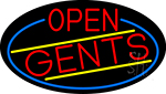 Red Open Gents Oval With Blue Border Neon Sign