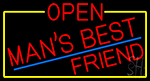 Red Open Mans Best Friend With Yellow Border LED Neon Sign