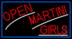 Red Open Martini Girls With Blue Border Neon Sign