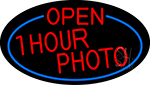 Red Open One Hour Photo Oval With Blue Border LED Neon Sign