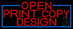 Red Open Print Copy Design With Blue Border LED Neon Sign