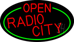 Red Open Radio City Oval With Green Border LED Neon Sign