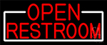 Red Open Restroom With White Border LED Neon Sign
