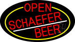 Red Open Schaefer Beer Oval With Yellow Border LED Neon Sign