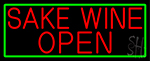 Red Sake Wine Open With Green Border LED Neon Sign