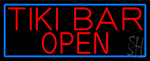 Red Tiki Bar Open With Blue Border LED Neon Sign