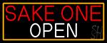Sake One Open With Orange Border LED Neon Sign