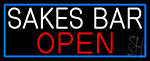 Sakes Bar Open With Blue Border LED Neon Sign