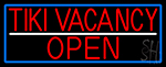 Tiki Vacancy Open With Blue Border LED Neon Sign