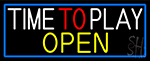 Time To Play With Blue Border Neon Sign