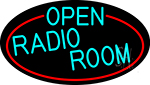 Turquoise Open Radio Room Oval With Red Border LED Neon Sign