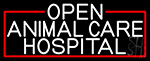 White Animal Care Hospital With Red Border LED Neon Sign
