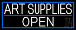 White Art Supplies Open With Blue Border LED Neon Sign