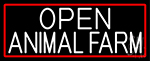 White Open Animal Farm With Red Border LED Neon Sign