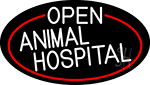 White Open Animal Hospital Oval With Red Border LED Neon Sign