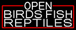 White Open Birds Fish Reptiles With Red Border LED Neon Sign