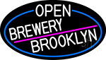 White Open Brewery Brooklyn Oval With Blue Border LED Neon Sign